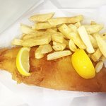 Large Cod and Chips, served with lemon and a big smile.