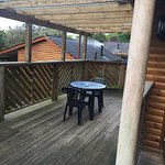 Terrace area of lodge with patio furniture