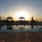 Sunset over Wadi Musa from the pool