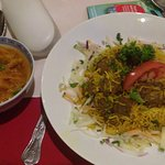 The lamb briyani comes with a veg curry