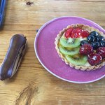 French Fruit Tartlet and Chocolate Eclair.