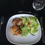 Two chicken dishes and lovely salad.