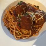 Meatball 'appetizer' with noodles and sauce was a special request.