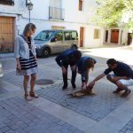 Our tour group getting to know a local in Requena (Credit Daniel E.)