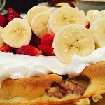 Waffle with the Works! (Walnuts, Strawberries, Banana, and Whipped Cream)