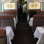 Dining car all ready for visitors for lunch