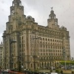 View of the Liver Building from the restaurant.