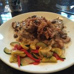 Meat loaf with mushroom, veggies and mashed potatoes