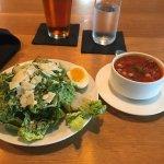 Caesar salad & black eyed pea soup