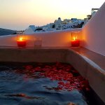 Romance suite hot tub at sunset