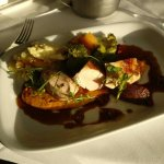 Chicken supreme with pureed sweet potato and chorizo jam, served with garlic potatos and vegetab