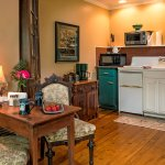 The Carriage House provides a kitchenette and place for guests to enjoy a cup of coffee.