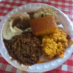 Bbq pulled pork, mac & cheese, fried cabbage, mashed potatoes & gravy, and cornbread for $8.99!