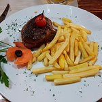 beef steak with chips
