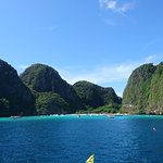 Arriving at Maya Bay at earlier in the morning with still low number of tourist boats