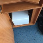 Weird!  Microwave sideways on in the cupboard but no kettle or tea making facilities!  Stained c