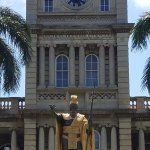 The clock tower and statue...
