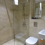 Bathroom, we got one without a complete partition and another one with a fully enclosed shower.