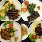 Fish, ayam (chicken) sate, beef, gado gado (vege) we ordered, anti-clockwise