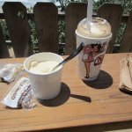 My low clam chowder and root beer float. We stood at this table to eat.