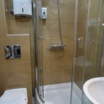 Clean bathroom with enclosed shower and proper shower head.