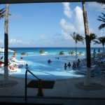 this is the view as you come out the revolving door to the pool area.