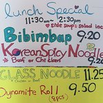 New Lunch Specials Bibimbap, Korean Spicy Noodle, Glass Noodles & Dynamite Roll! with soup & sal