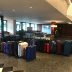 Our luggage lined up to put on the bus to g to Siena and on to ROMA .