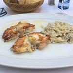 Grilled monkfish with pasta.