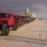 Fun Jeep Parade on the Beach