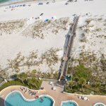 Looking down at the pool and access to the beach