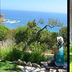 Enjoying a stunning view of the Pacific Ocean from the grounds of the Glass Church