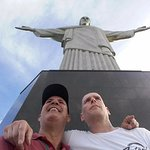 A traveler and I in front of the Christ statue