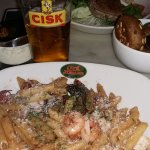 Seafood penne and tuna salad