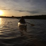 Evening kayaking on lake