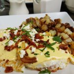 Bacon/goat cheese eggs benedict at Anuenue Cafe in Poipu