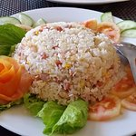 my fried rice plate- see the colour of tomatoes n no vegies on fried rice