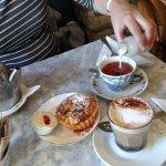 Enjoying tea, coffee and tarts at the Dame Street location of Queen of Tarts, Dublin, Ireland.