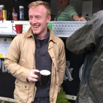 Colin enjoying a lovely, hearty tea outside Piper's Pitch.