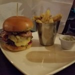 The amazing burger and chips.