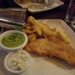 The fish and chips with mushed peas