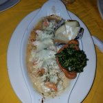 Shrimp with cheese and bake potato
