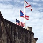 Flags over the Fort. White & Red cross is Spanish Military Flag