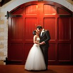Wedding at Flaxton Gardens in front of the Barrel Room Doors.