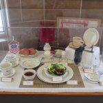 A display of what a dining car service for one looks like. It doesn't contain any plastic or pap