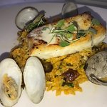 Halibut with saffron rice and clams