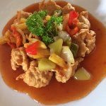 delicious koloke (fried chicken fillet with sour sweet sauce)