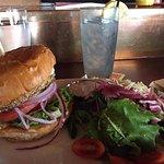 Veggie burger & lavender vodka drink
