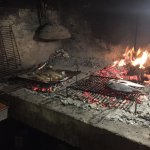 Fresh fish and squid cooked on the open fire...lovely!