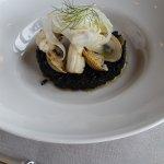 Riz noir coquillage et poulpe divin